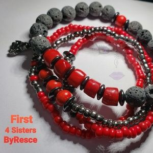 First, Four Sisters Stacked Bracelets